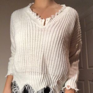 Sweaters - Chunky white sweater with ripped detailing